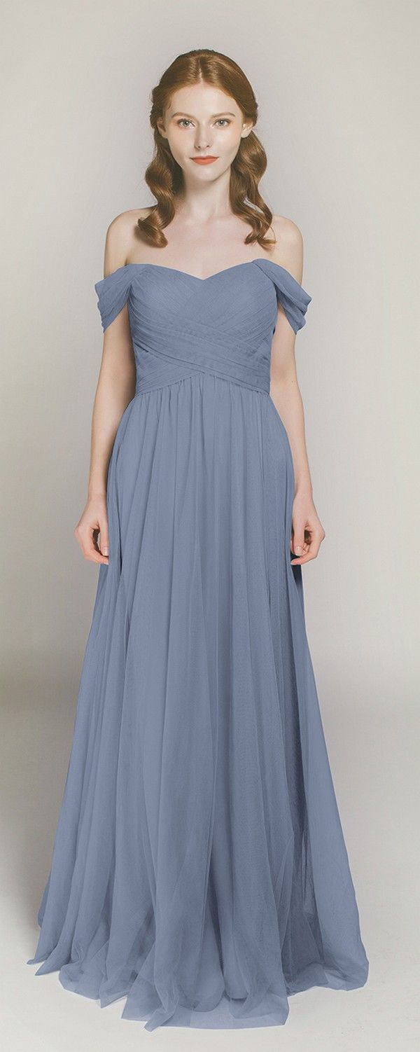 off the shoulder dusty blue tulle bridesmaid dresses TBQP328