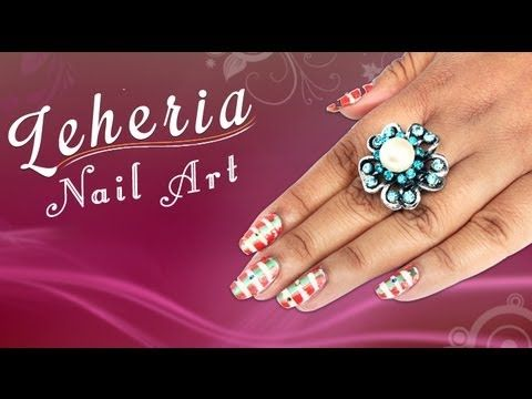 Lehria Nail Art Design Lehria Nail Art Design Tutorial For Beginners!!!!! ! Give your hands a special feel by painting lehria nail art! Colorful striped design on the nails can actually pep up your looks. So here are step-by-step instructions for you to try it out this creative piece of nail art!   Visit for buy Nail Art kit:- http://khoobsurati.com/make-up/nail-art  Visit for nail art tutorial:- http://www.youtube.com/watch?v=wVID1dw_ZjI