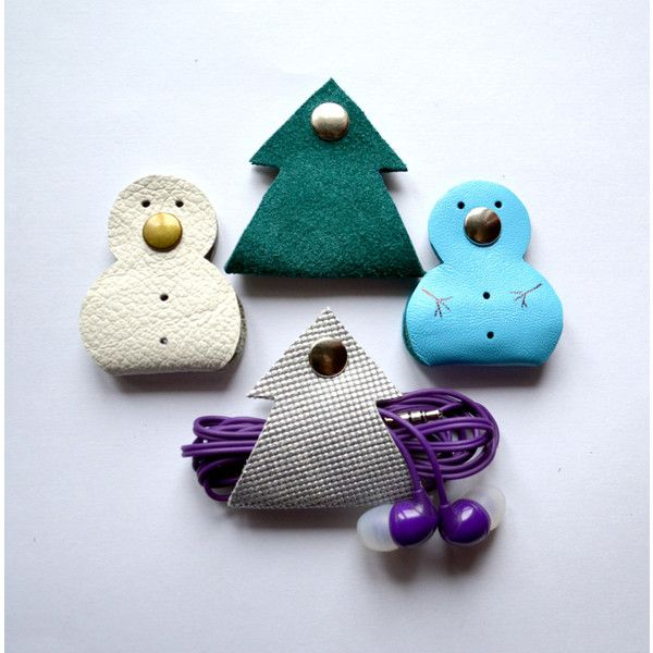 Leather Earphone snowman tree gift christmas new year Holder Cable... ($6.99) via Polyvore featuring home, home decor and holiday decorations