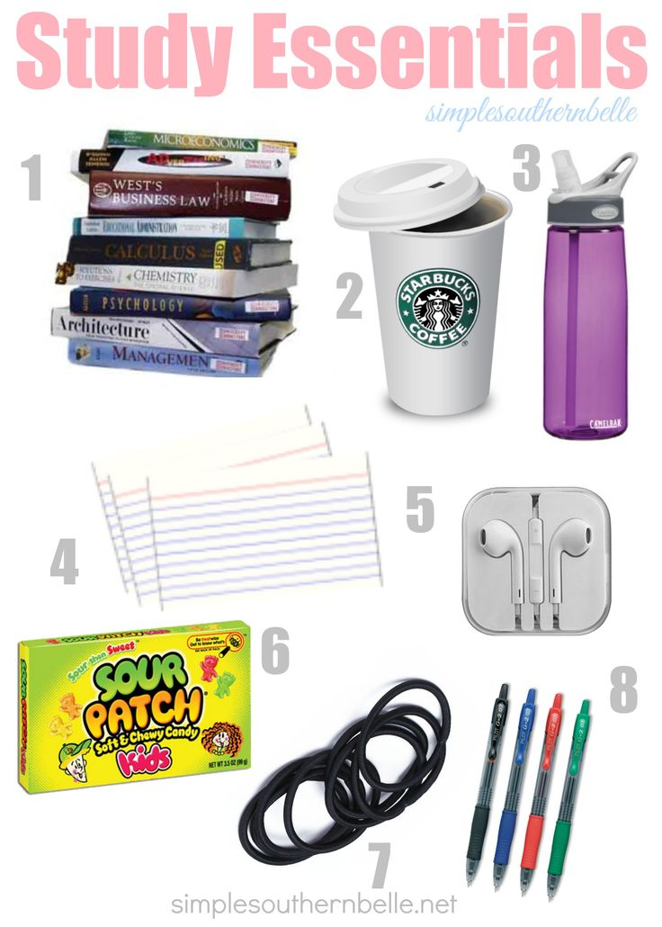 Final exam week is here and in full swing, make sure you're prepared for your library stake outs with these essentials.  simplesouthernbelle.net