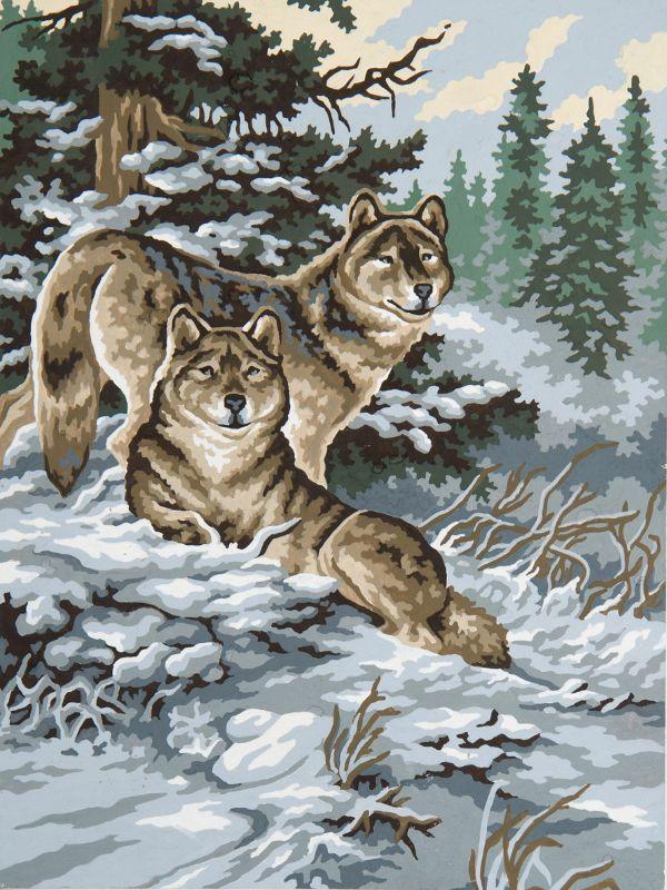 Collection d'Art:10.481 Snow Wolves - CANVAS ONLY - Penelope Antique Canvas, colour printed design. Canvas size 40cm X 50cm with DMC thread recommendations.