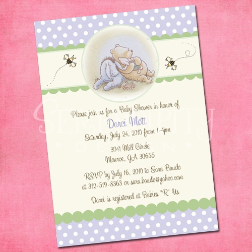 Classic Pooh-baby shower, honey bee, pooh bear, winnie the pooh, honey, bay bee shower, invitation, invite, party, celebration, pregnant mom, boy, girl, neutral, gender unknown, baby