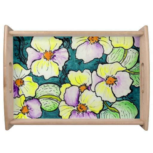 """Le mie violette"" Large Serving Tray, Natural"