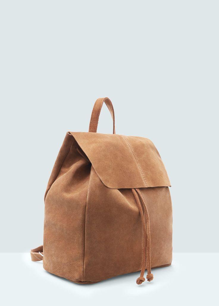 Замшевый рюкзак с клапаном