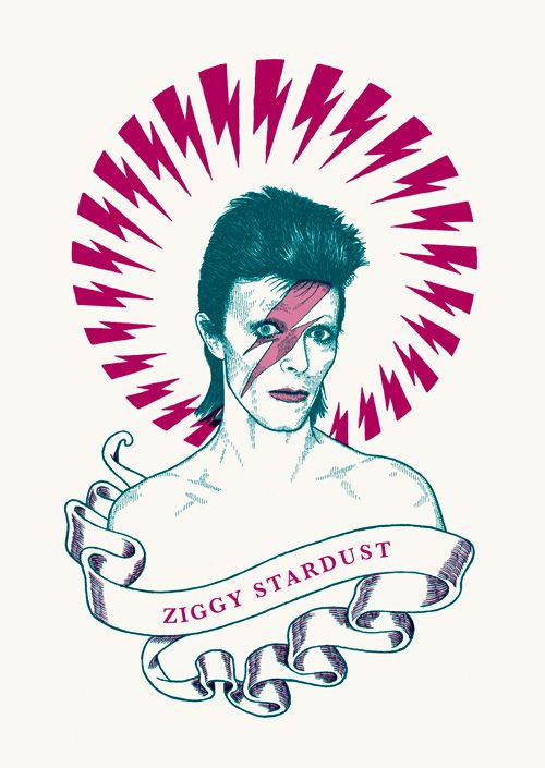 """RS169 - """"David Bowie"""" Icon card by Ben Lamb Illustration & Design"""
