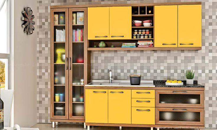 Cozinha Modulada Completa 5 Módulos Fruits Avelã/Maracujá/Granito Preto - Urbe Móveis