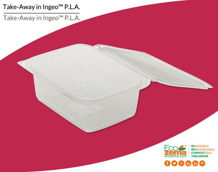 Biodegradable & Compostable take-away clamshell containers made from Ingeo™ P.L.A - Contenitori d'asporto biodegradabili e compostabili in Ingeo™ P.L.A