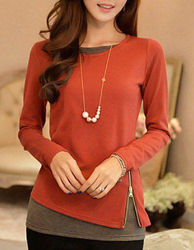 Elegant Long Sleeve Scoop Neck Faux Twinset Design Knitwear For Women $11.01
