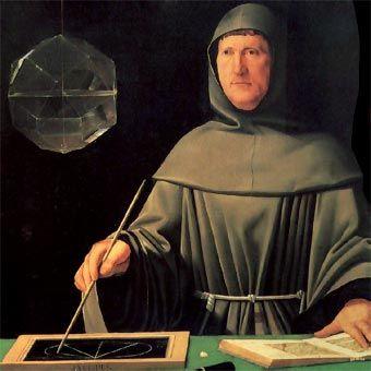 The golden ratio is explored in Luca Pacioli's book 'De divina proportione' of 1509 - (portrait of Pacioli by Jacopo de' Barbari - 1500s)