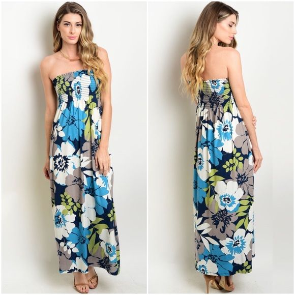 "Gilli Teal Floral Strapless Dress ❤️ Beautiful, flowy, floral strapless dress ❤️ Soft, lush fabric  ❤️ Sizes available: Small & Medium  ❤️ 96% Polyester, 4% Spandex  ❤️ Made in USA ❤️ Small: L - 46"", B - 34"", W - 26"", H - 34"", 2-4, Jean - 26-27 ❤️ Large: L - 46"", B - 37"", W - 29"", H - 38"", 10-12, Jean - 28-29  ⭐️Sizing details obtained from clothing manufacturer Gilli Dresses Maxi"