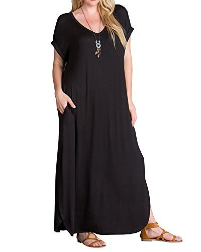 2e67194d5d3 nice Rotita Womens Plus Size Short Sleeve V Neck Dress Casual Pregnant  Loose Maxi Dresses
