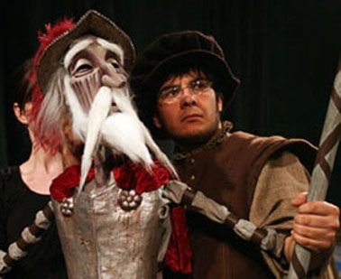 Don Quixote the puppet and Don Quixote the actor, Mario Castro Martinez, and behind the puppet is Kate Cryan, one of the puppeteers.