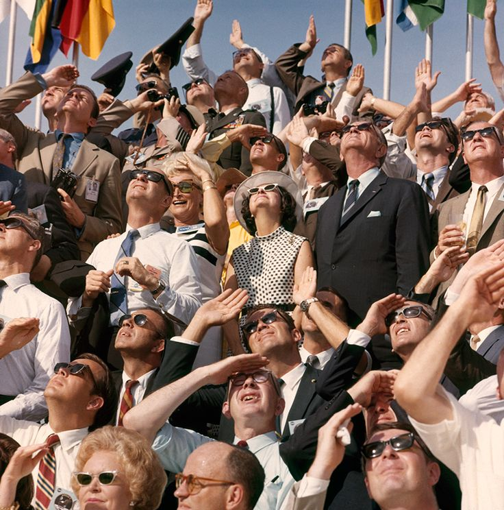 President and Mrs. Johnson and Vice President Agnew watch Apollo 11 lift off at Cape Canaveral, July 1969.Photograph by Otis Imboden, National Geographic