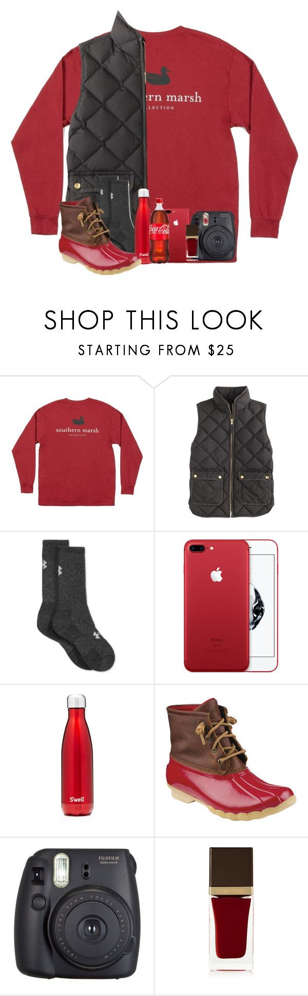 """50 Shades of Red (i had to;) rtd"" by katie-1111 ❤ liked on Polyvore featuring J.Crew, Under Armour, S'well, Sperry, Fuji and Tom Ford"