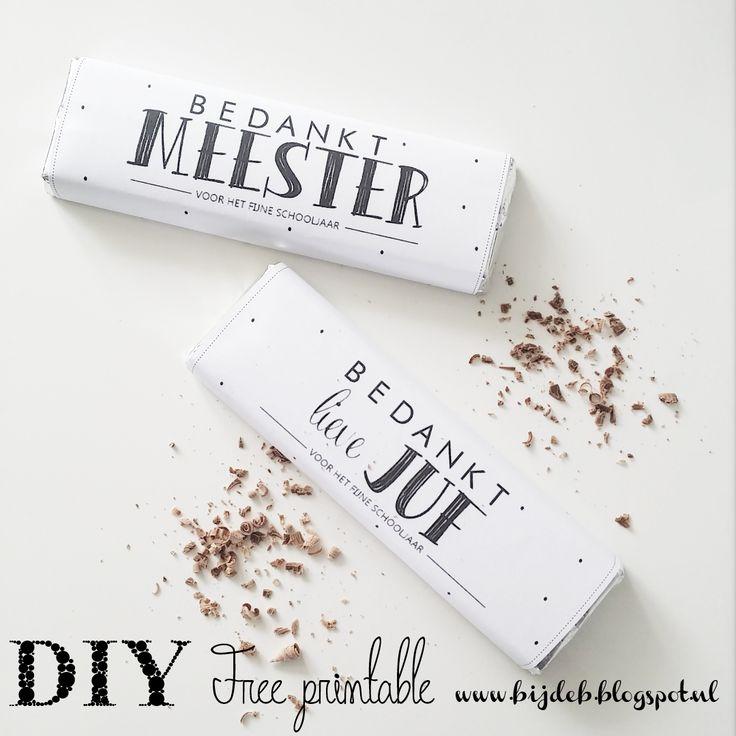 Chocolade wikkel als afscheid voor alle juffen en meesters.