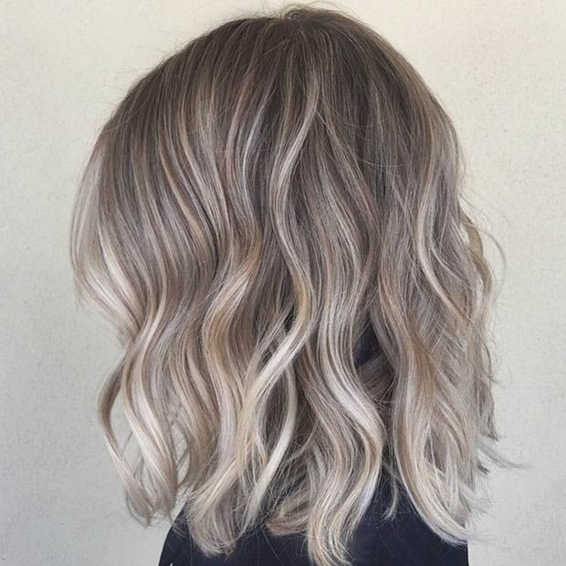 Ash Blonde Sombre Lob + Beach Waves