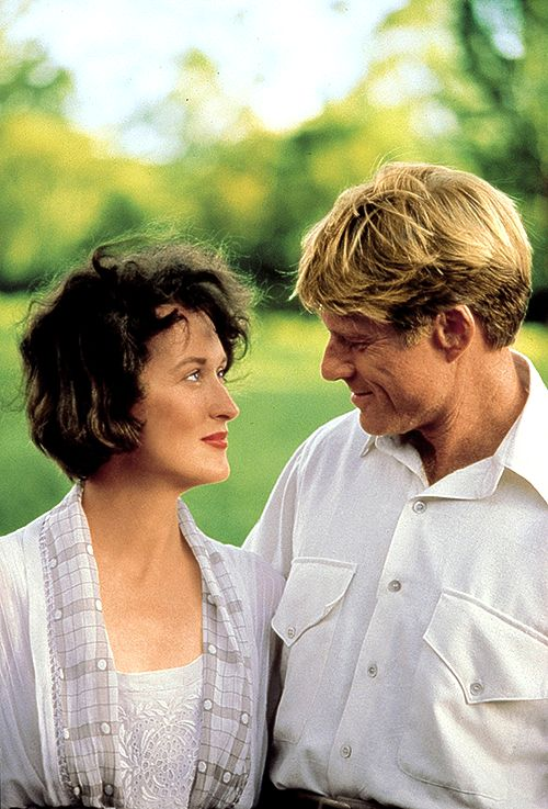 Meryl Streep and Robert Redford on the set of Out of Africa (1985)