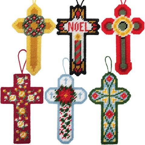 Craftways christmas cross ornaments plastic canvas kit for Cardboard crosses for crafts
