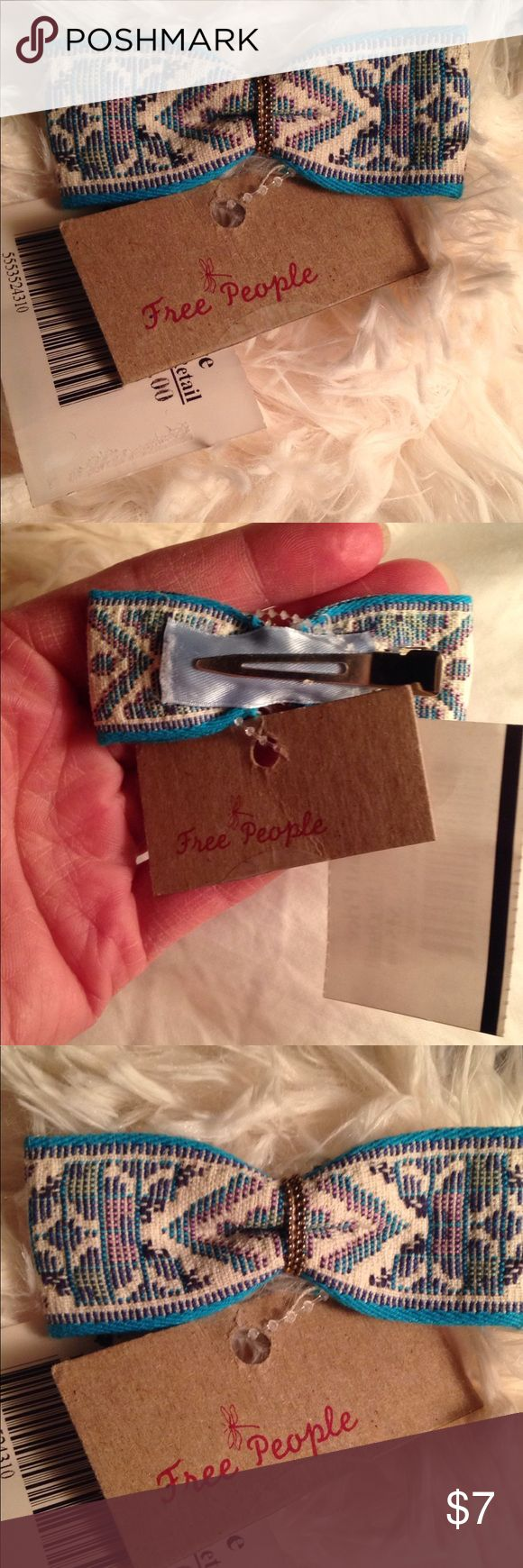 Free People Embroidered Bow Pin Curl Clip Barrette 45 mm single prong alligator Clip. Great for holding back wisps of hair off your child's face. I have 2 of this turquoise Clip. Other colors: dusty pink, navy, periwinkle, light green, linen/cream Free People Accessories Hair Accessories