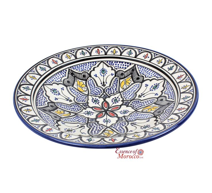 MOROCCAN PLATE in Ceramic Hand Painted in Moroccan Multicoloured from Safi ( 40 cm / 15.7' )[1]