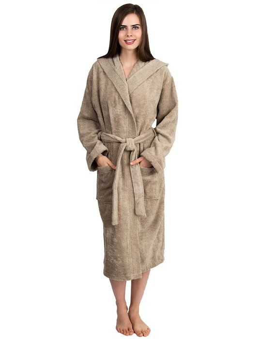 TowelSelections Turkish Cotton Bathrobe Hooded Terry Robe for Women and Men Large/X-Large Linen