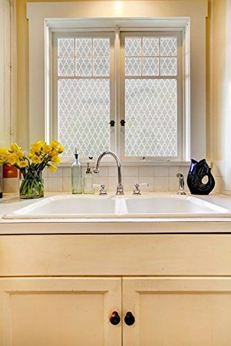Amazon.com - 24 x 12 White Seamless Quatrefoil Design Frosted Window Film. Privacy Static Cling Film. UV Filtering. Energy Saving. -