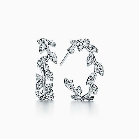 Paloma Picasso® Olive Leaf hoop earrings in 18k white gold with diamonds.