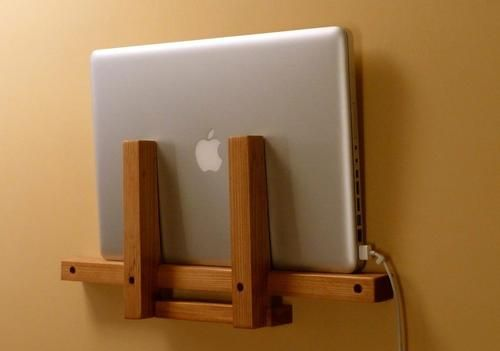 A little couch- or bed-side laptop holder everyone needs | gadgetsin.comGood Ideas, Couch, Beds, Laptops Storage, Dock Stations, End Tables, Laptops Dock, Wooden Laptops, Charging Stations