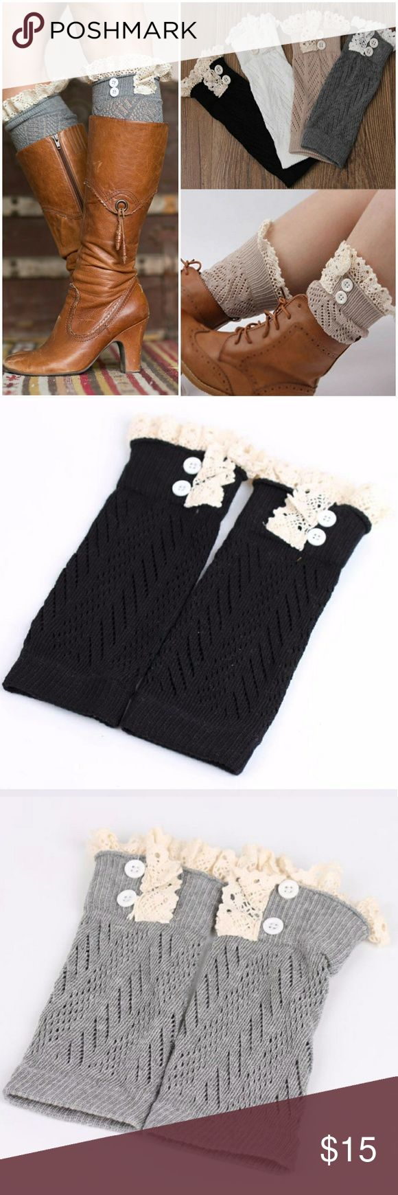 Lace Trim Knit Boot Cuffs Cute lace trim knit boot cuffs with button detail. Comes in Black, Gray and White Accessories Hosiery & Socks