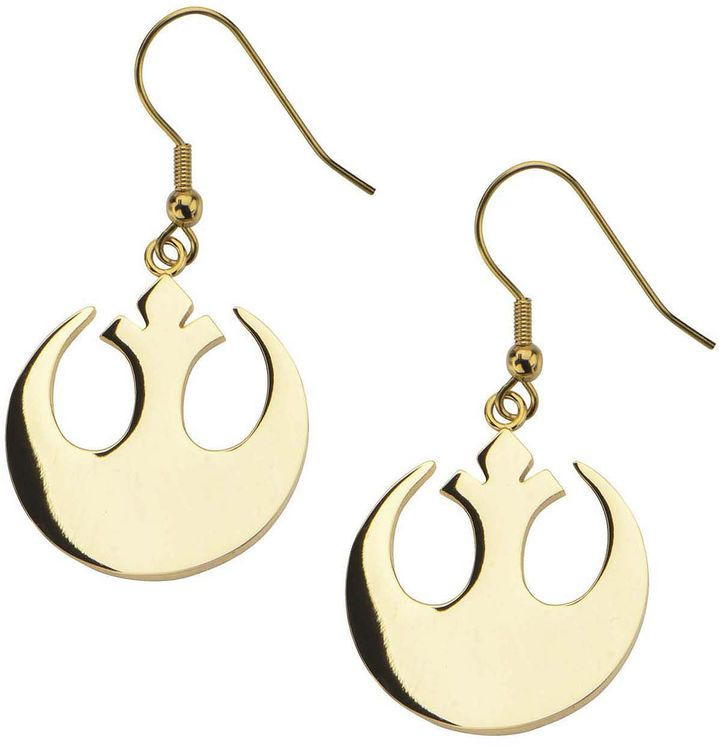 FINE JEWELRY Star Wars Gold Ion-Plated Stainless Steel Rebel Alliance Symbol Earrings