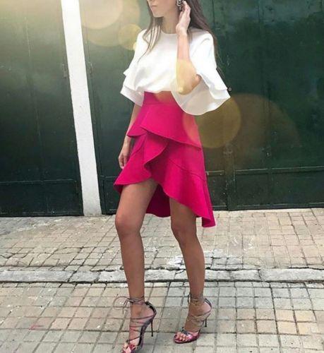 NWT ZARA SS17 Fuchsia Frilled SKIRT Size S womens ASYMMETRIC HOT PINK 2105/819