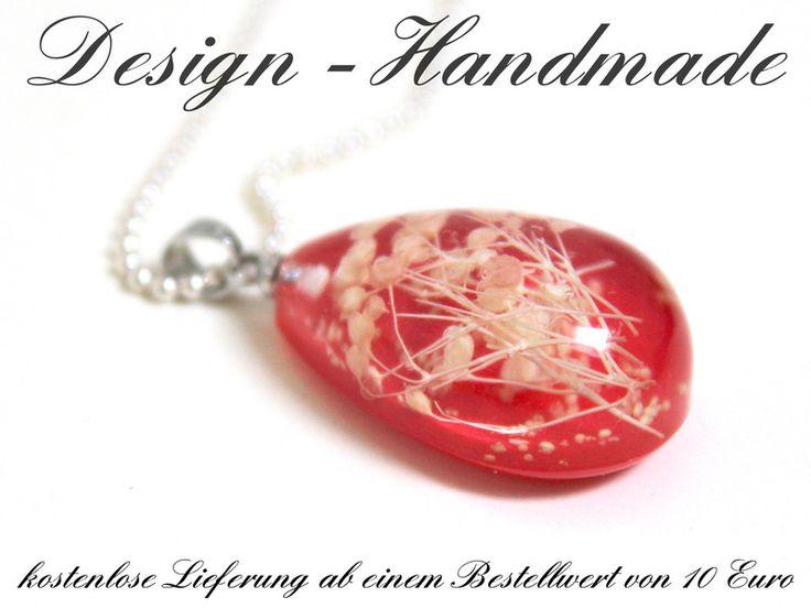 Ketten lang - Halskette echte Blüten Leuchtende Kette ROT Silber - ein Designerstück von Design-Handmade bei DaWanda