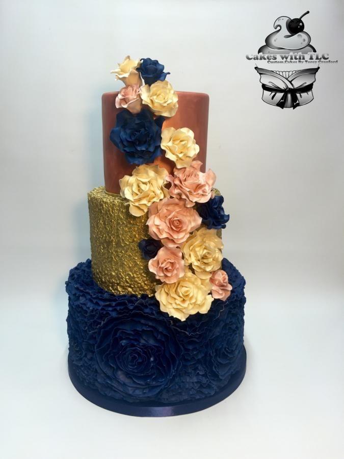 Navy Gold and Blush Wedding cake by ToreyTLC - http://cakesdecor.com/cakes/256023-navy-gold-and-blush-wedding-cake