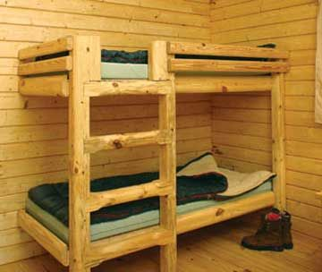 Cabin furniture and accessories bing images cabins and for Log cabin style bunk beds