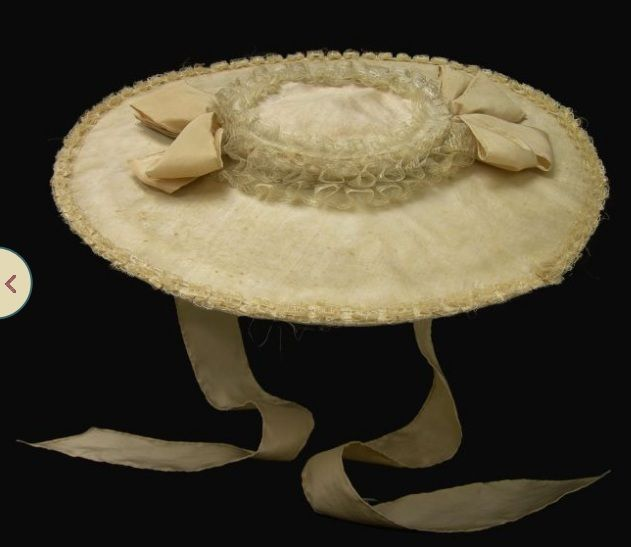 Colonial Williamsburg,  Bergere Hat 1760-1785  English, silk over straw, replaced ties