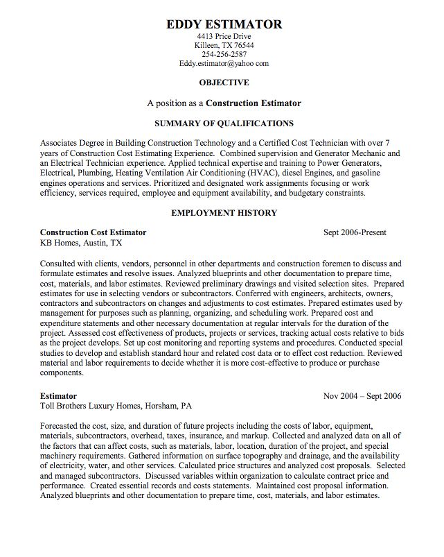 construction estimator sample resume httpexampleresumecvorgconstruction estimator