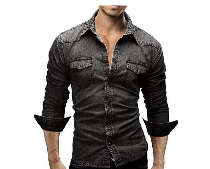 QINGYU Men Shirt Brand 2017 Male Long Sleeve Shirts Casual Solid Color Denim Slim Fit Dress Shirts Mens 3XL 3003