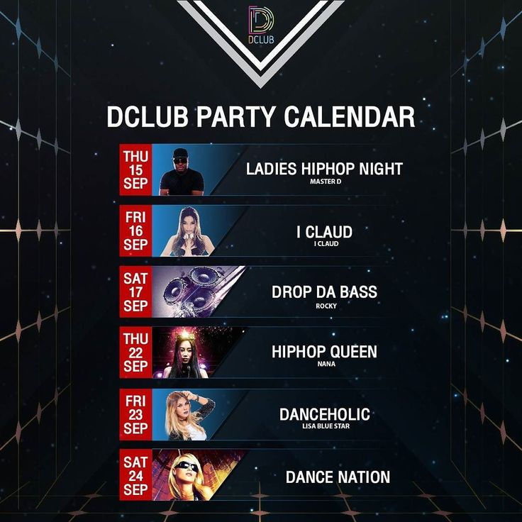 What's on September 2016 ? Dclub party calendar ;  #dclub #dclubpattaya #walkingstreet #partytime #pattaya #trance #hiphop #house #bass #party