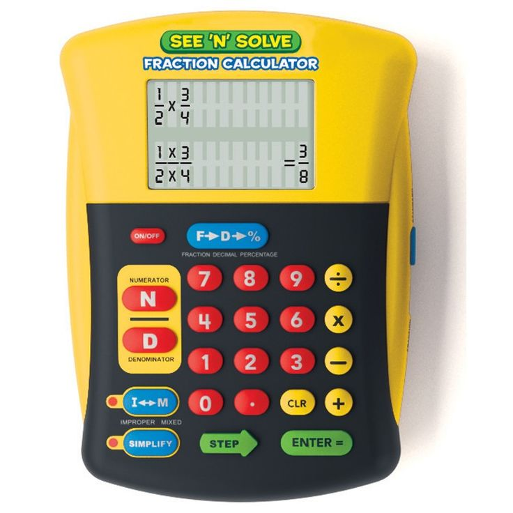 Finish your math homework in fraction of the time solving math problems with the See n Solve Visual Fractions Calculator. Manufactured by Educational Insights.