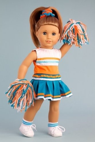 DreamWorld Collections Cheerleader - 6 piece cheerleader outfit includes blouse, skirt, headband, pompons, socks and shoes - American Girl Doll Clothes : Activewear Doll Clothes