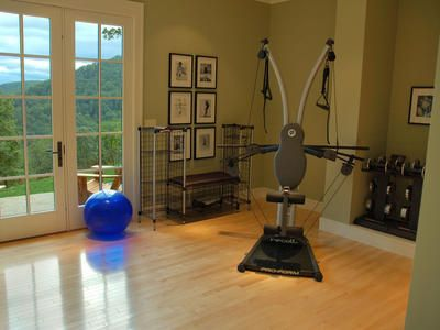 a home fitness room... and looks like there's a really good view of the outside too! :-)