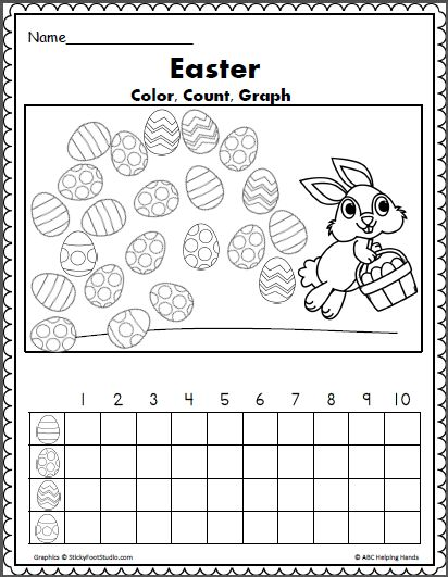 easter egg color count and graph math teacher ideas easter worksheets coloring easter eggs. Black Bedroom Furniture Sets. Home Design Ideas
