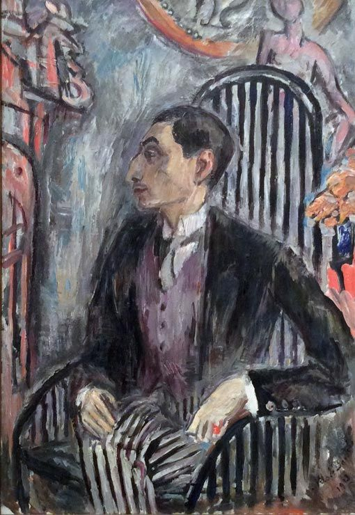Konsthandlare Alfred Flechtheim, 1913 (The art dealer Alfred Flechtheim) by Nils Dardel (Swedish 1888-1943)....Alfred Flechtheim (1878-1937) was a German art dealer, art collector, journalist and publisher, who, as a champion of Modern art and as a Jew, was forced to flee the Nazi's.....he was also painted by Otto Dix, Karl Hofer & Jules Pascin, among others.....this portrait in formal clothes was painted in Paris....