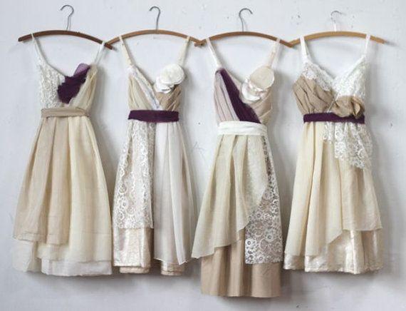 Custom Neutral Grey and Tan Bridesmaids by ArmoursansAnguish