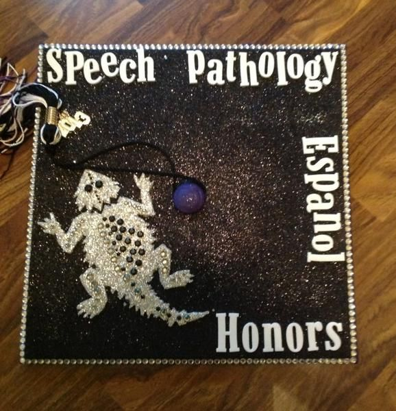 "Teresa Hughes, speech-pathology major: ""My cap embodies my four passions: Speech Pathology, Spanish, Honors, and the horned frog for TCU. An..."