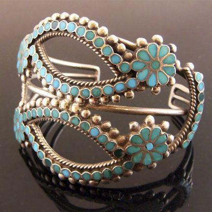 Cuff | Artist ? (Zuni) ~ Dishta Style. Silver and turquoise. ca. 1940s.