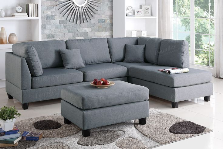 """Fabric Sectional Sofa With Ottoman F7606 $428  Experience simplicity with this 3-piece sectional with a matching ottoman. Upholstered in a plush linen-like fabric, this sectional features cushioned pillow back and seat supports for maximum comfort, and works perfect in a contemporary or classic styled living room. Available in sand, grey, teal, and chocolate.   Material Grey Plywood + solid pine + plastic leg Foam, fiber battings   Dimension: Reversible L/R chaise 76"""" x 35"""" x 35"""" H  2-Seat…"""