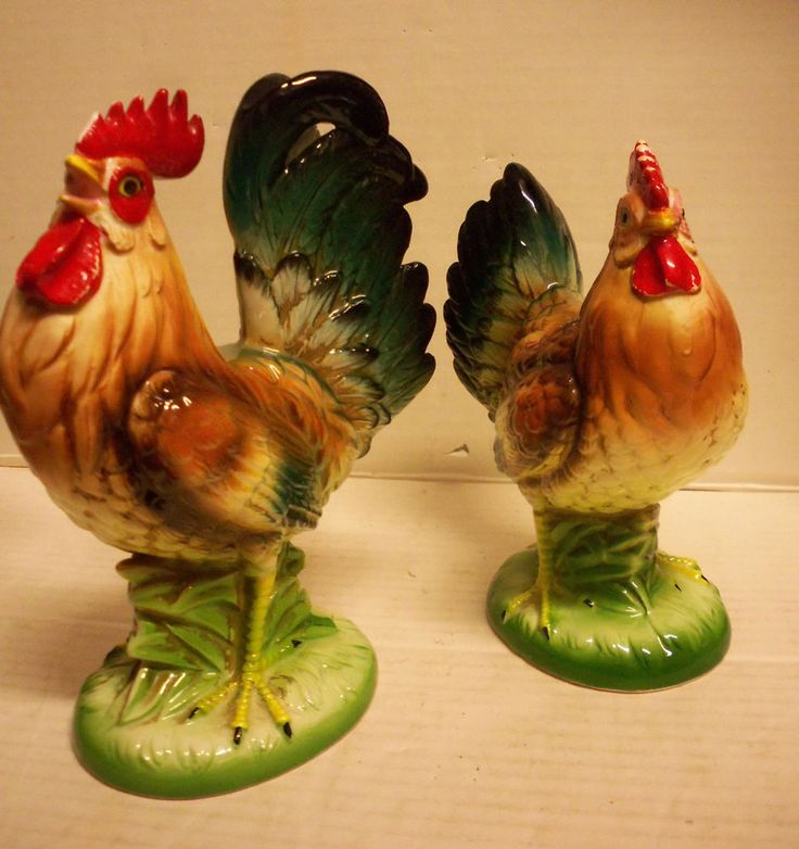 Vintage Pair Of Hen And Rooster Figurines NORCREST Made In JAPAN Chicken  Statue