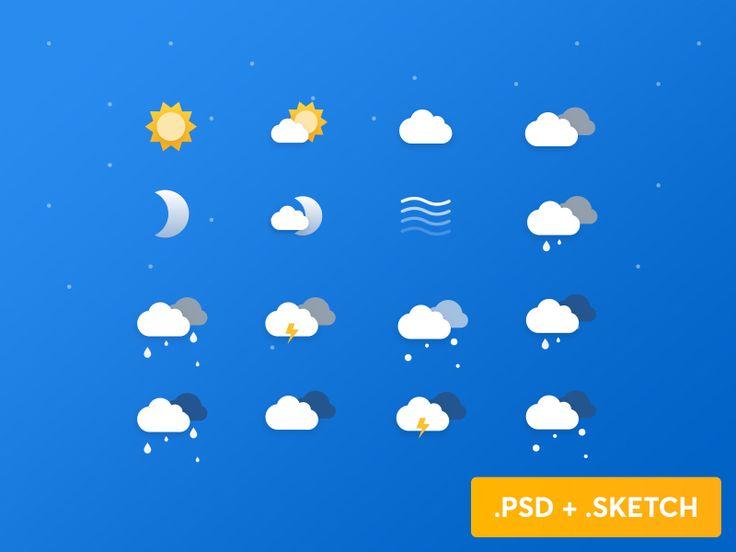 Free Weather Icons by netguru #Design Popular #Dribbble #shots