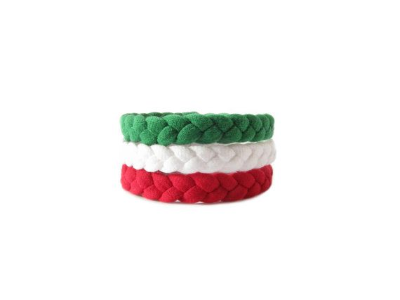 Handmade braided bracelets made from 100% green, red and white cotton t-shirt yarn